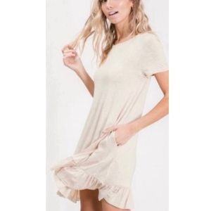 Ruffle Hem T Shirt With Pockets Dress Oatmeal